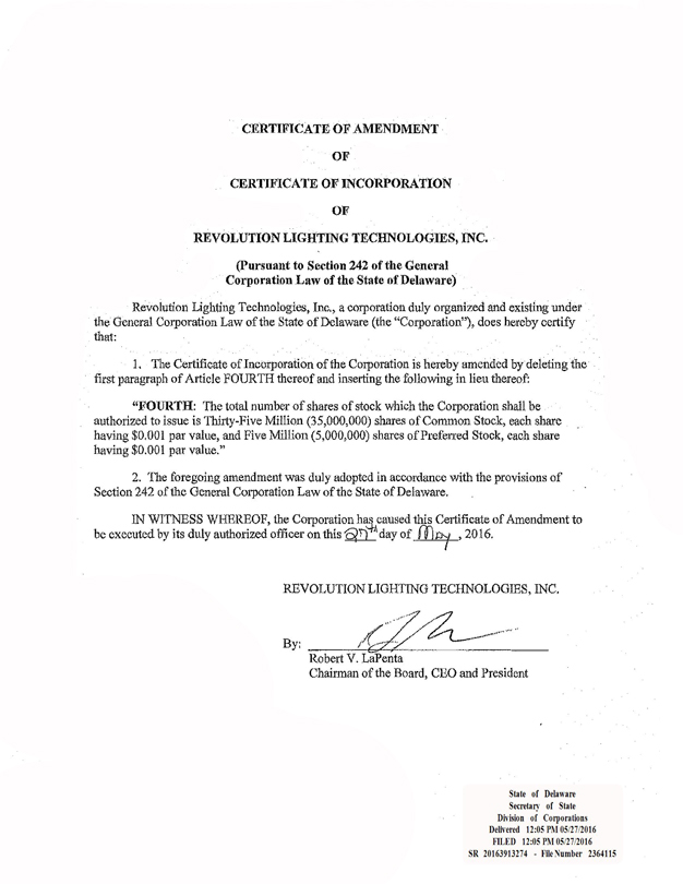 Amended and Restated Certificate of Incorporation